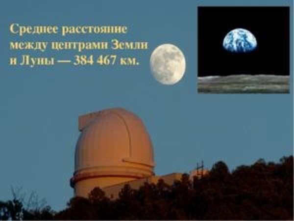 расстояние между центрами земли и луны