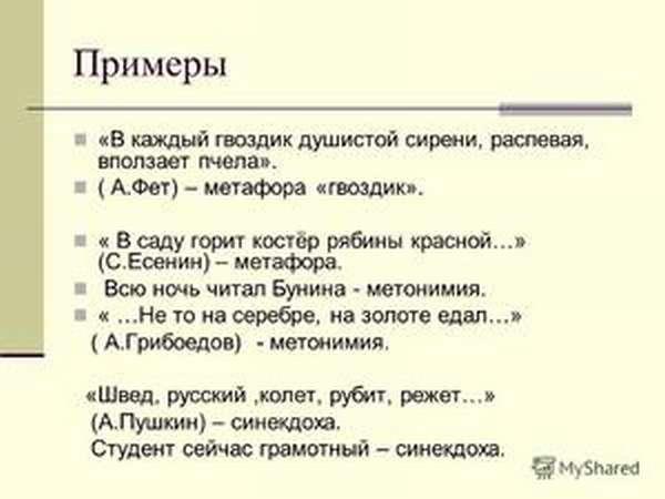Синекдоха- примеры из литературных произведений
