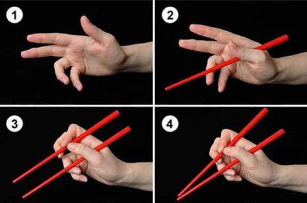 схема как держать палочки для еды