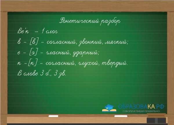 Пример разбора слова век