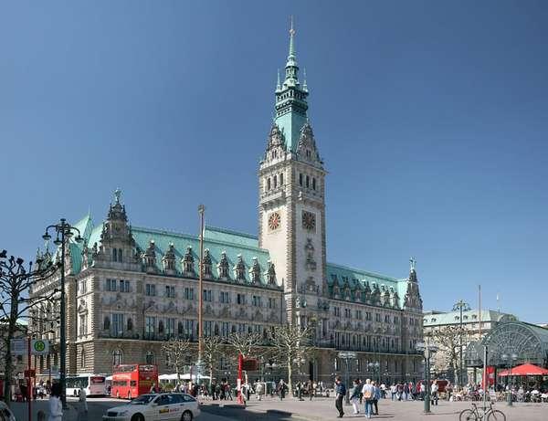 Вольный и ганзейский город Гамбург. Гамбург. Центральная Ратуша ...