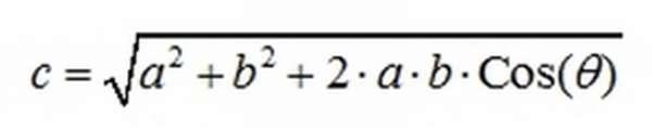 Модуль суммы векторов из одной точки