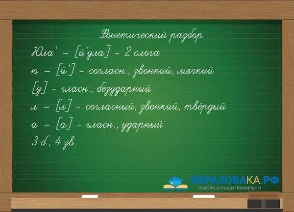 Пример фонетического разбора слова юла