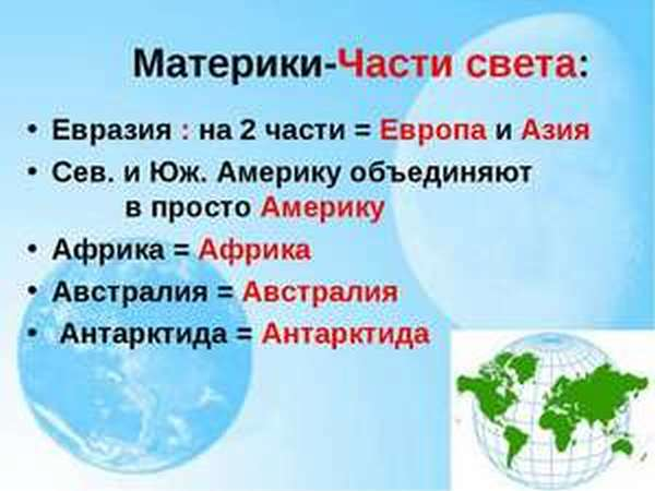 Части света и материки