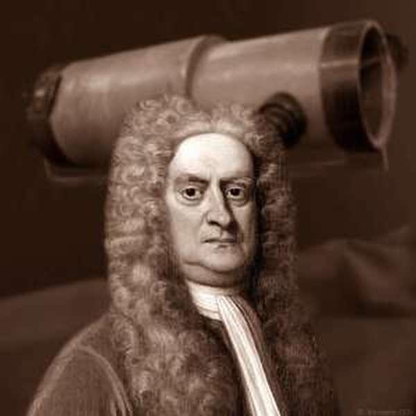 Ньютон возле аппарата телескопа