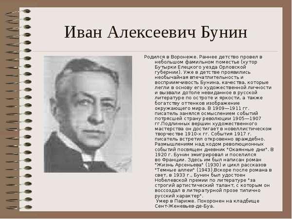 Краткая биография Бунина