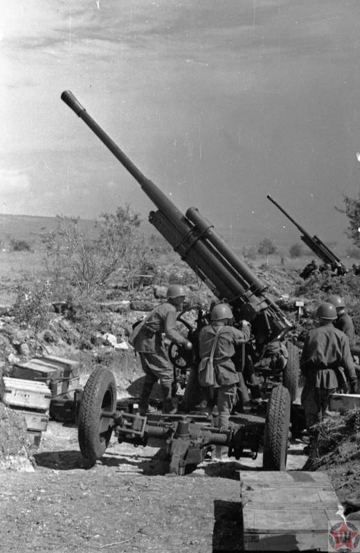 Зенитно-артиллерийский полк ПВО под Севастополем, Крым, СССР 1942 год