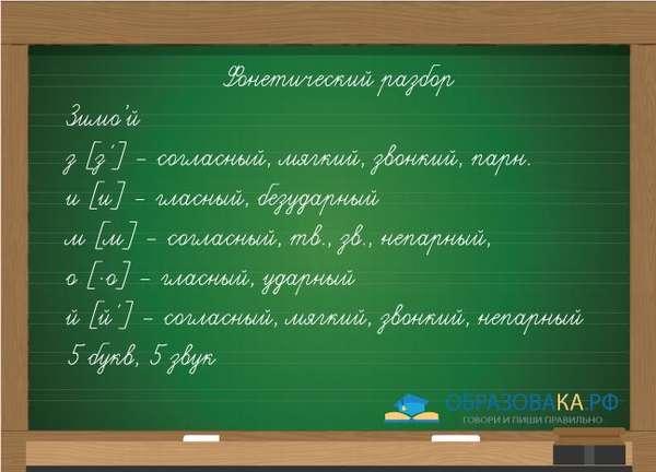 Пример фонетического разбора слова зимой