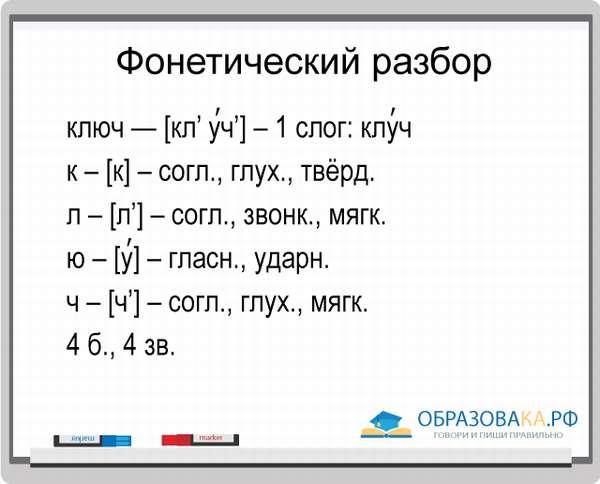 Фонетический анализ слова ключ