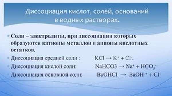 Диссоциация кислот, солей, оснований
