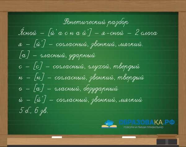 Пример фонетического разбора слова ясной