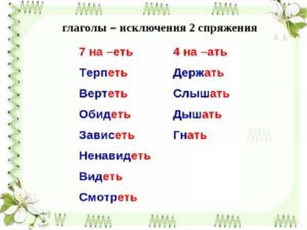 глаголы исключения 1 и 2 спряжения