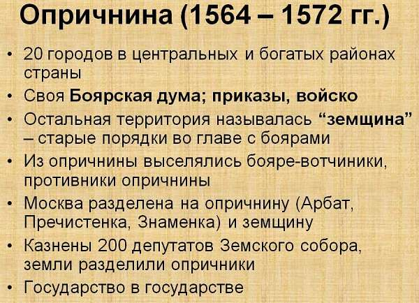 Опричнина Ивана Грозного причины, сущность и последствия