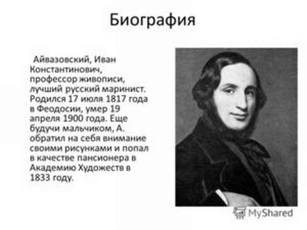 Художник Айвазовский Иван Константинович