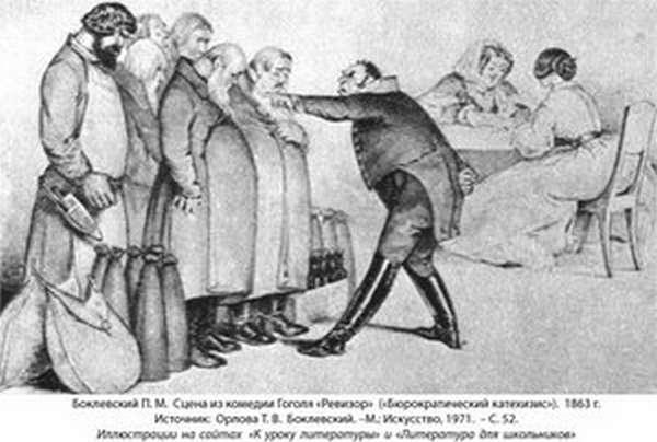 Городничий и купцы в пьесе Ревизор