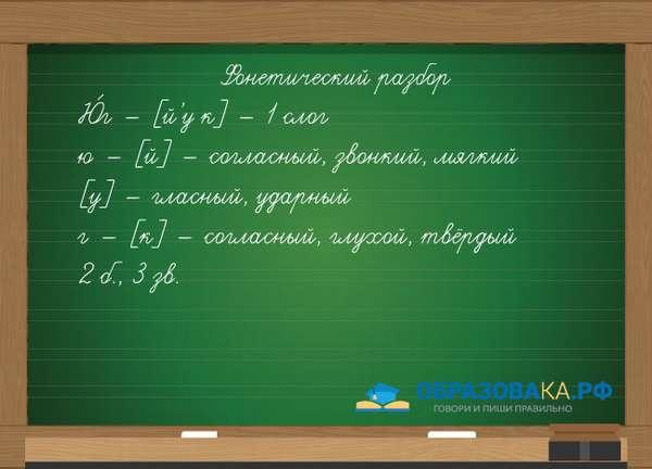 Разбор (фонетический) слова юг