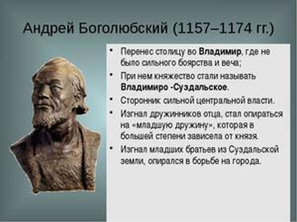 Время правления Андрея Боголюбского