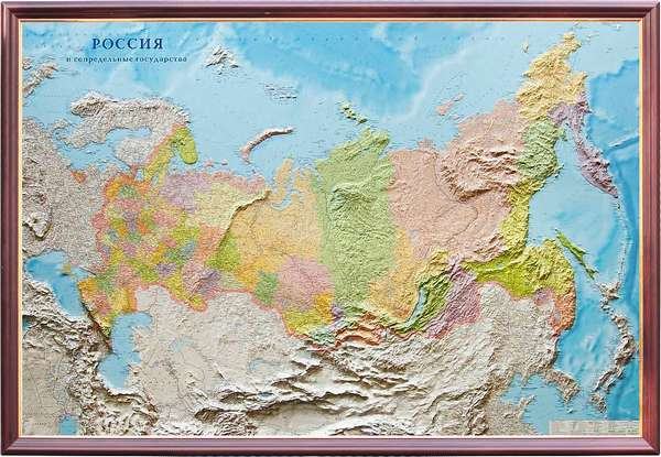 Рельефная политико-административная карта Россия и сопредельные ...